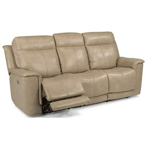 Power Reclining Sofa with Power Headrests and Adjustable Lumbar