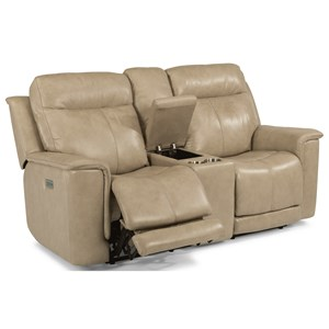 Power Reclining Loveseat with Power Headrests and Adjustable Lumbar