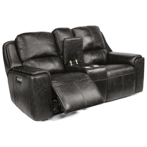 Casual Power Reclining Console Loveseat with Power Headrest