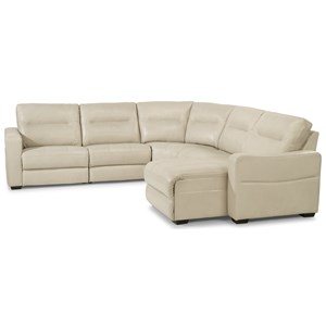 Contemporary 5 Piece Power Reclining Sectional with Power Headrests