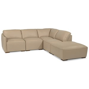 5 Piece Leather Sectional with Ottoman