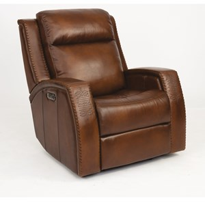 Rustic Leather Power Glider Recliner with Southwest Inspiration and Power Headrest