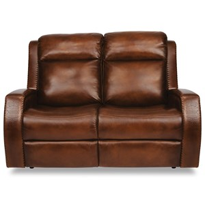 Rustic Leather Power Reclining Loveseat with Power Headrest