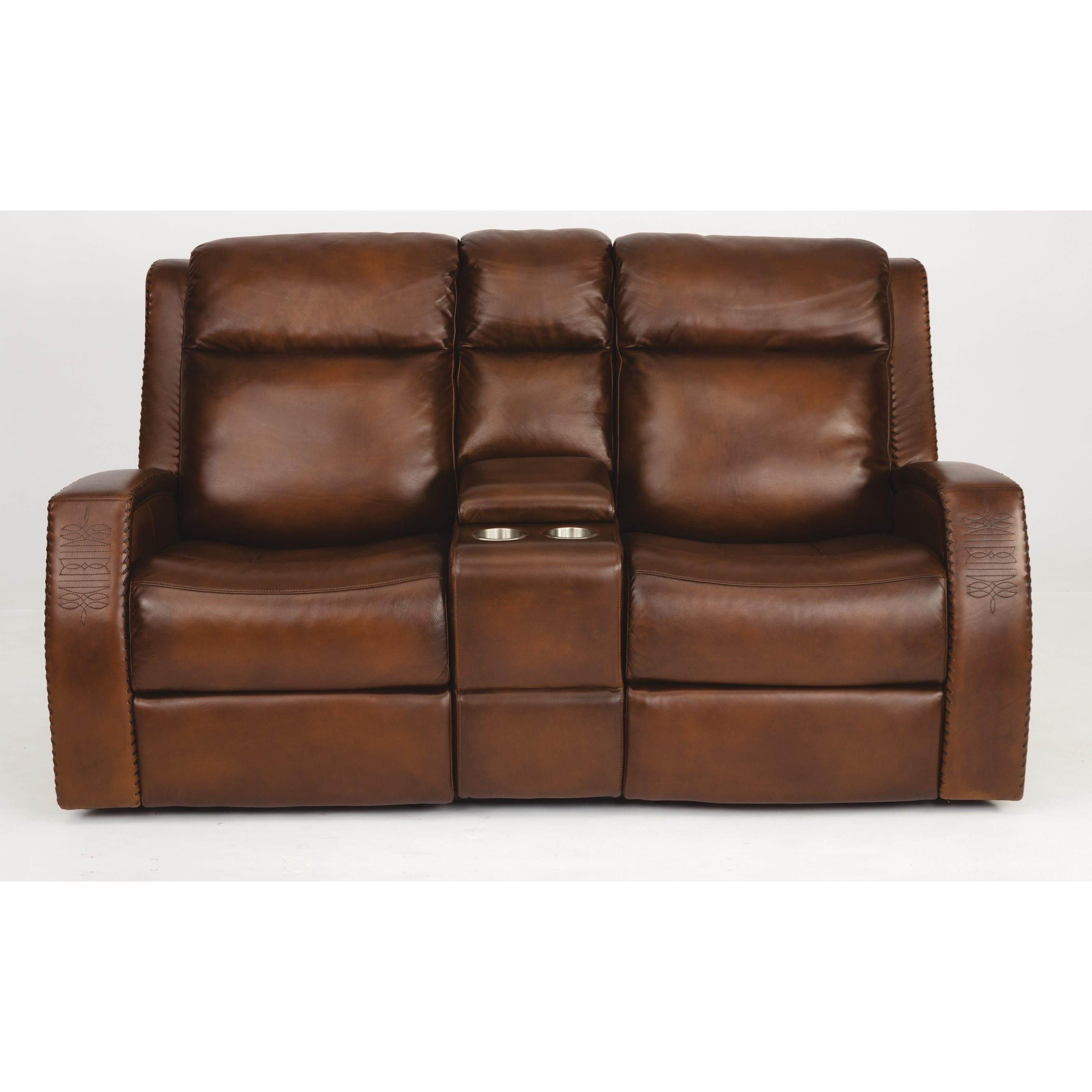 Latitudes - Mustang Power Reclining Console Loveseat & Pwr Head by Flexsteel at Walker's Furniture