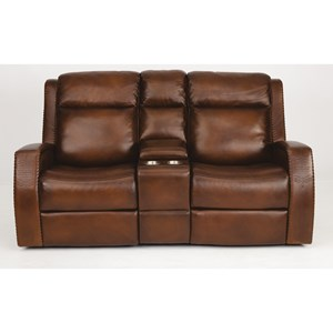 Rustic Leather Power Console Reclining Loveseat with Southwest Inspiration and Power Headrests