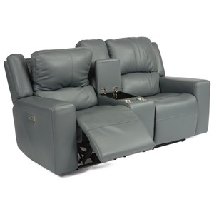 Casual Power High Leg Layflat Reclining Loveseat with Power Headrest, Storage Console, and Cup Holders