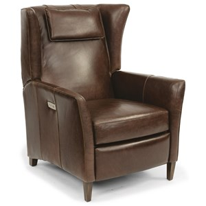 Contemporary Power High Leg Leather Recliner with USB Port