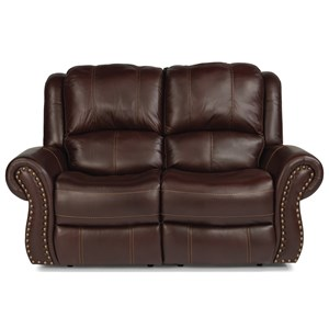 Transitional Power Reclining Love Seat with Power Headrest and Power Lumbar