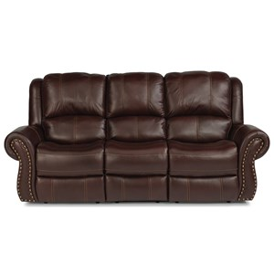 Transitional Power Reclining Sofa with Power Headrest and Power Lumbar