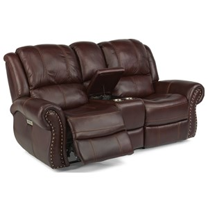 Transitional Power Reclining Love Seat with Power Headrest and Lumbar