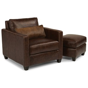 Urban Rustic Chair & Ottoman with Hair-on-Hide Leather Pillow