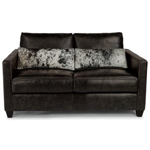 Urban Rustic Loveseat with Hair-on-Hide Leather Pillows