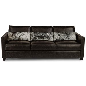 Urban Rustic Sofa with Hair-on-Hide Leather Pillows
