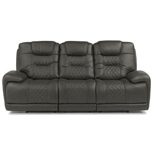 Contemporary Power Reclining Sofa with Power Headrest and Lumbar