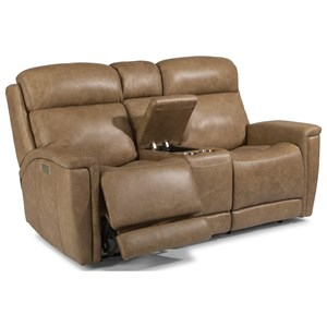 Contemporary Power Reclining Console Loveseat with Power Headrest and Lumbar