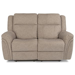 Casual Power Reclining Love Seat with Power Headrest and USB Port