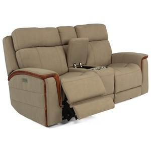 Contemporary Power Console Loveseat with USB Ports and Cupholders