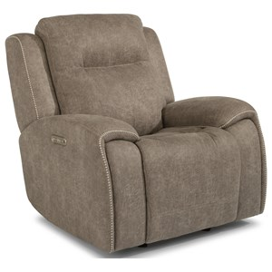 Contemporary Power Gliding Recliner w/ Power Headrest & Accent Stitching