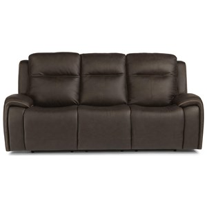 Contemporary Power Reclining Sofa w/ Power Headrests & Accent Stitching