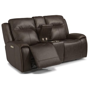 Contemporary Power Reclining Loveseat w/ Console & Power Headrests