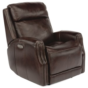 Transitional Power Gliding Leather Recliner with Power Headrest
