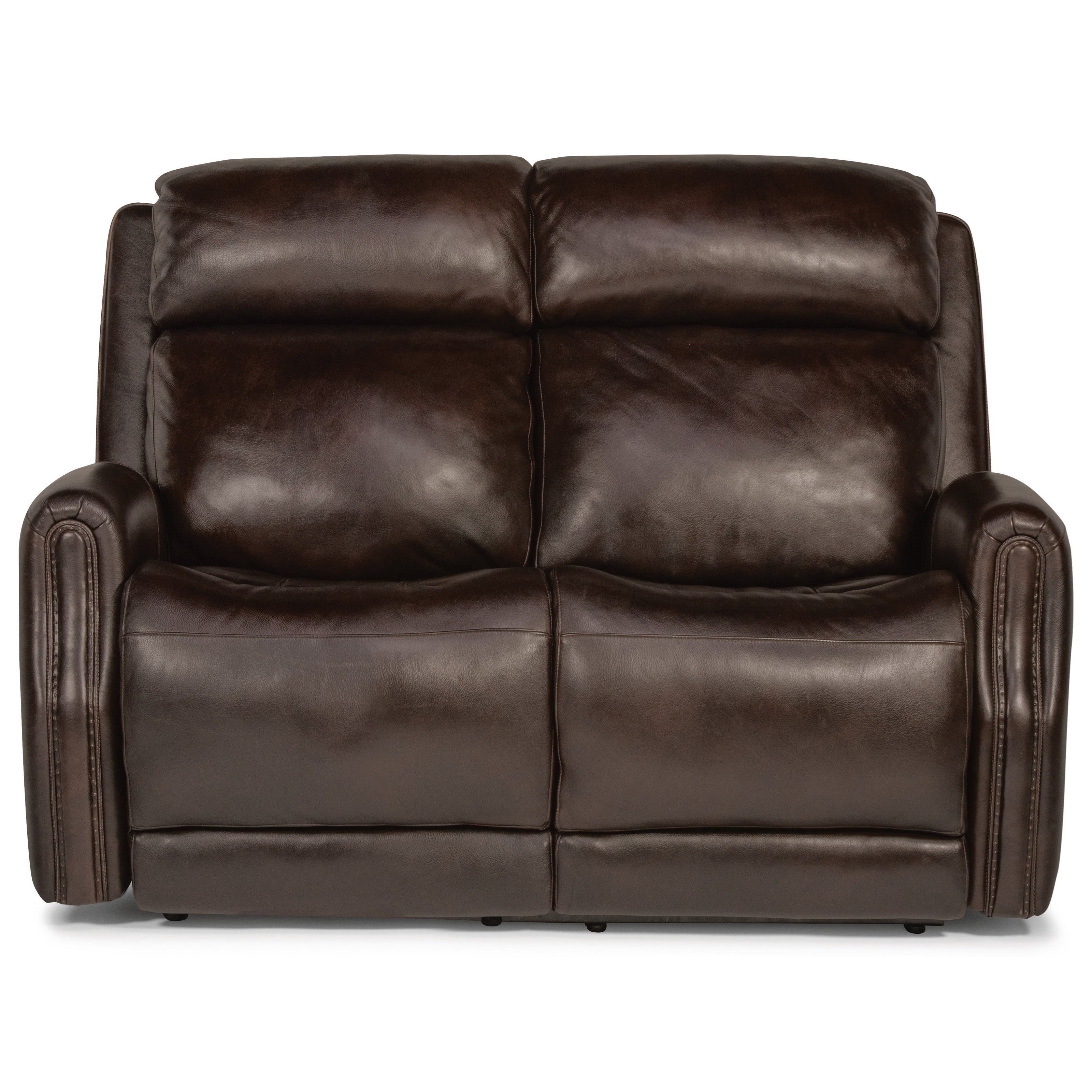 Latitudes - Stanley Power Reclining Leather Loveseat by Flexsteel at Crowley Furniture & Mattress