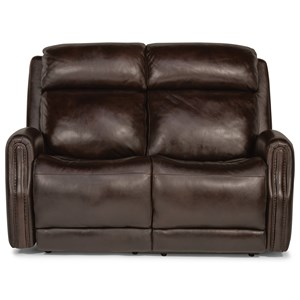 Transitional Power Leather Loveseat with Power Headrest