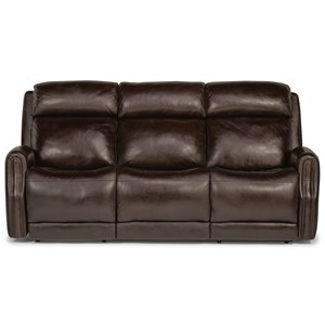Transitional Power Leather Sofa with Power Headrest