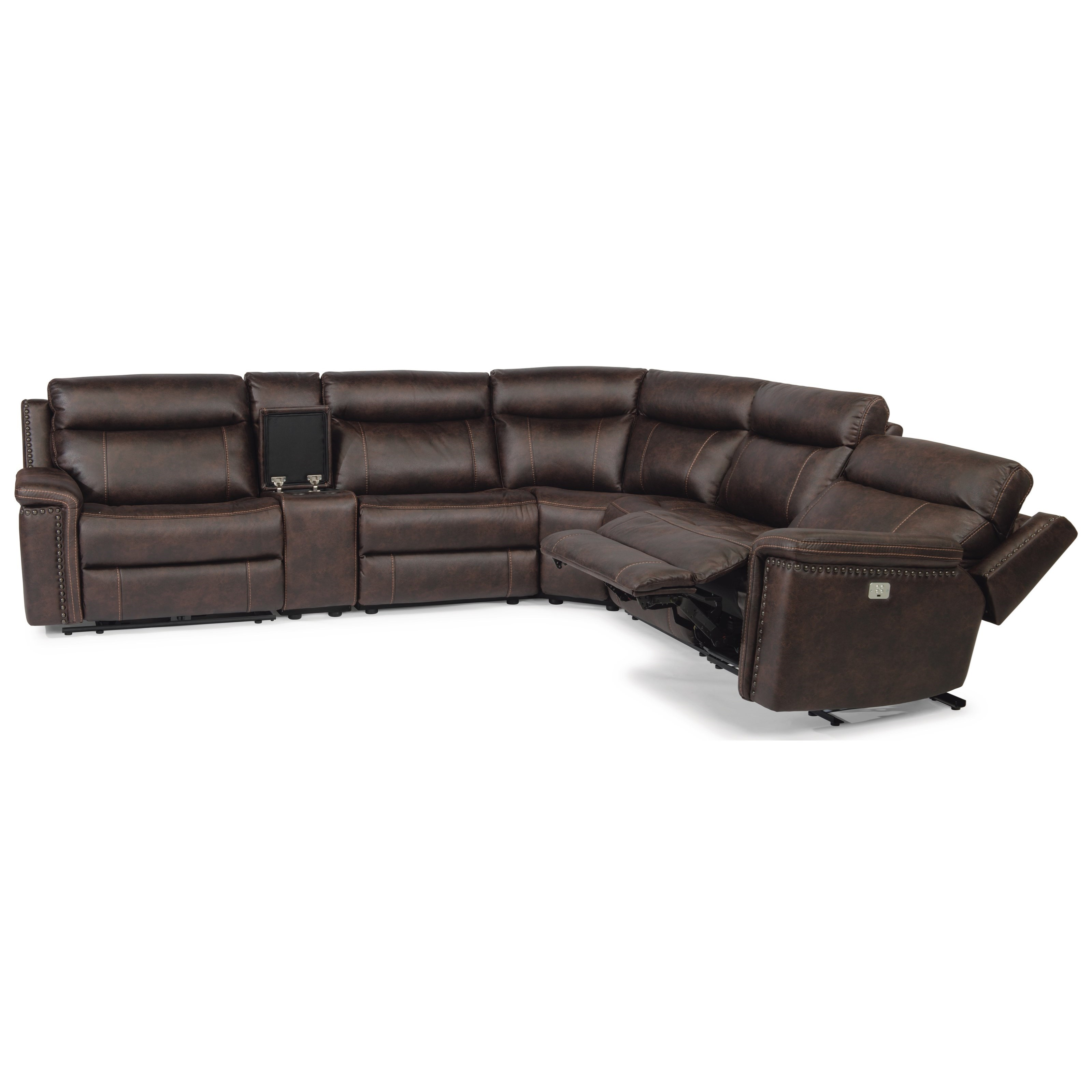 Latitudes - Trevor 6 Piece Reclining Sectional by Flexsteel at Thornton Furniture