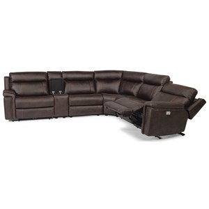 Rustic 6 Piece Reclining Sectional with USB Ports and Built-In Storage