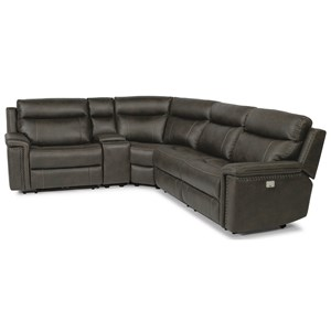 Rustic 5 Piece Power Reclining Sectional with USB Ports and Built-In Storage