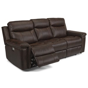 Rustic Power Reclining Sofa with Power Headrests and USB Ports