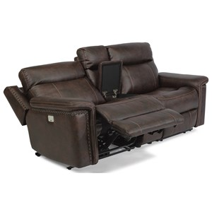 Rustic Power Reclining Console Love Seat with Power Headrests and USB Ports