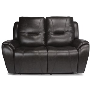 Contemporary Power Headrest Loveseat with USB Port