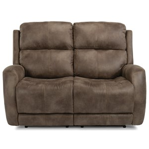Casual Power Reclining Love Seat with Power Headrest & Power Adjustable Lumbar Support