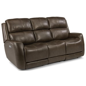 Casual Power Reclining Sofa with Power Headrest & Power Adjustable Lumbar Support