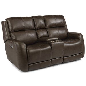 Casual Power Reclining Console Love Seat with Power Headrest & Power Adjustable Lumbar Support