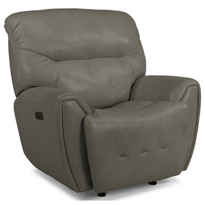 Contemporary Power Gliding Recliner with Power Headrest & USB Port
