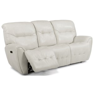 Contemporary Power Reclining Sofa with Power Headrest and USB Ports