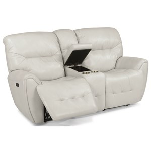 Contemporary Power Reclining Love Seat with Power Headrest and Storage Console