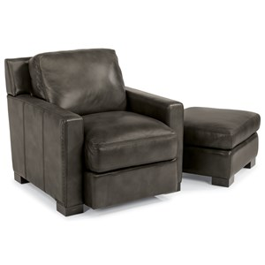 Contemporary Chair and Ottoman with Removable Seat and Back Cushions