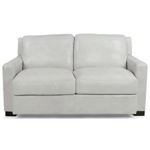 Contemporary Love Seat with Loose-Pillow Back