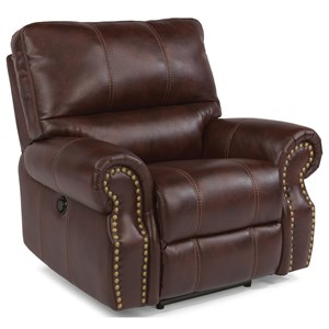 Traditional Power Recliner with Nailhead Trim