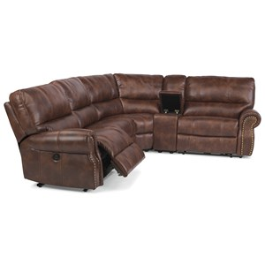 Traditional L-Shaped 5-Piece Sectional with Storage Console and USB Ports