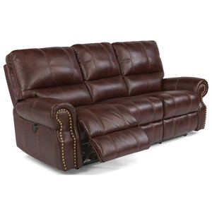 Traditional Power Reclining Sofa with Nailhead Trim