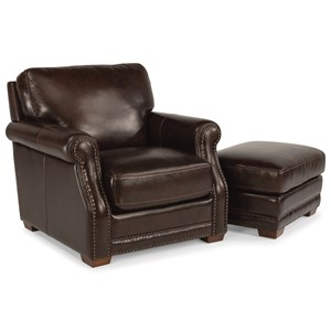 Transitional Chair and Ottoman Set with Nailhead Trim