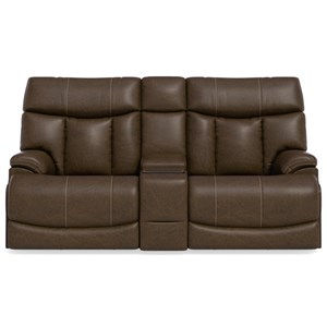 Casual Power Reclining Loveseat with Center Console