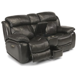 Power Reclining Console Love Seat with Power Headrests and USB Port
