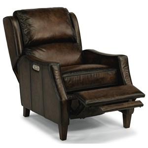 Transitional Power Leather High-Leg Recliner with Power Headrest and USB Port