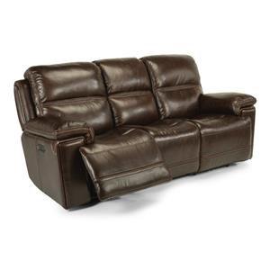 Leather Power Reclining Sofa w/ Power Headrest